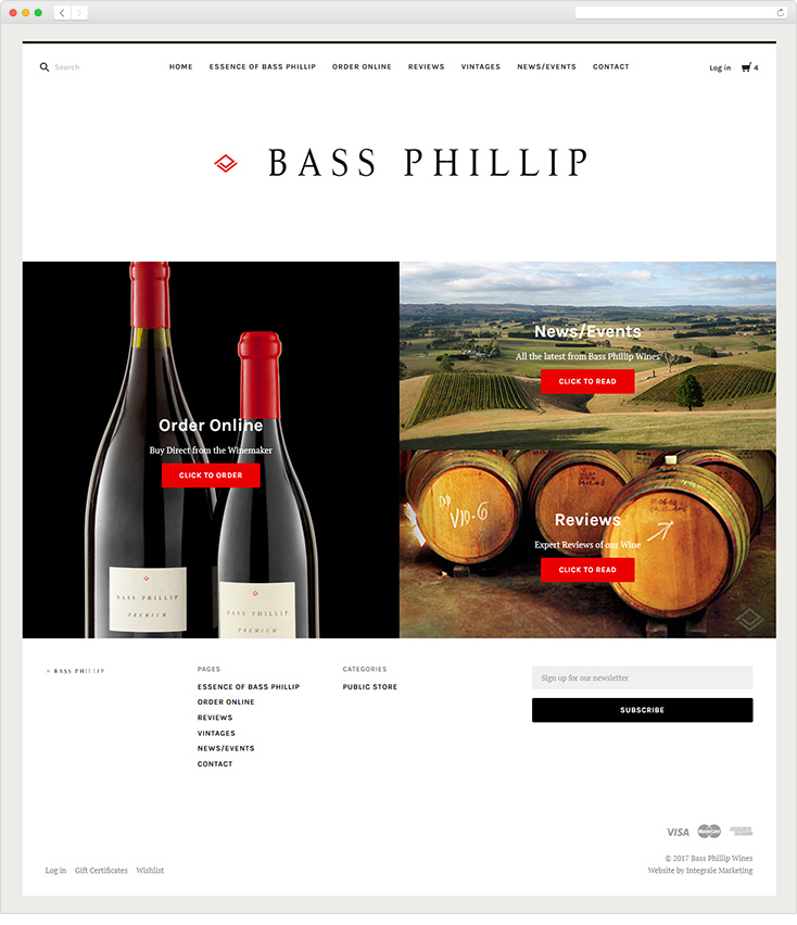 Bass Phillip Wines website by Integrale Marketing
