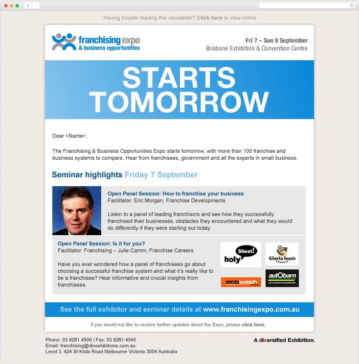 Franchising Expo eDM by Integrale Marketing