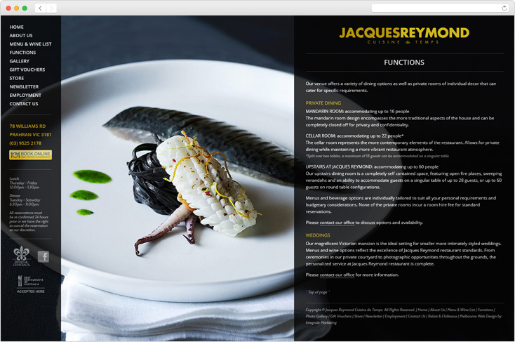 Jacques Reymond Restaurant website by Integrale Marketing