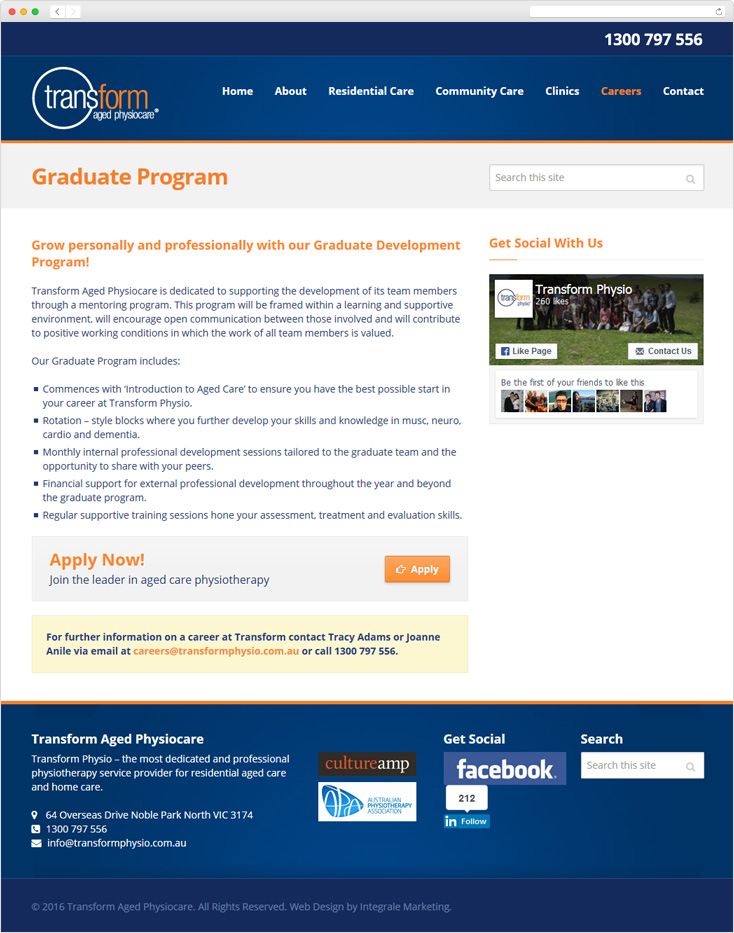 Transform Aged Physiocare website by Integrale Marketing