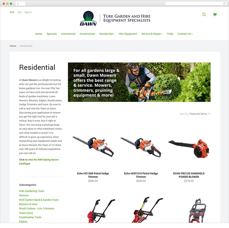 Dawn Mowers Ecommerce Website by Integrale Marketing