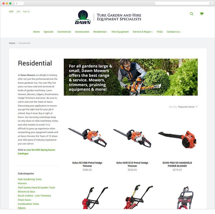 Dawn Mowers Ecommerce Website by Integrale Marketing